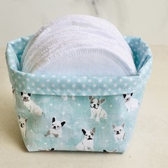 Cotton Facial Rounds Makeup Removers with French bulldog storage pods.