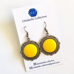 Small yellow faux leather dangles