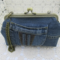 Women's clutch - Recycled Repurposed Denim Jean Clutch-  Leather Trim Pocket
