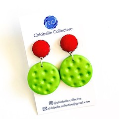 Medium fabric and clay round dangles - pink and green