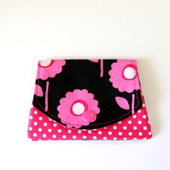 Find a Penny Purse - Pink Flowers, Polka Dots