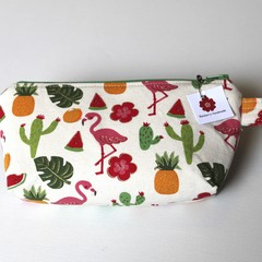 Flamingos pineapple tween teen girl make up bag