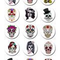 Sugar Skulls Edible Cupcake Toppers - Pre-cut Sheet of 15 - EI263C