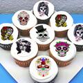 Sugar Skulls Edible Cupcake Toppers - PRE-CUT Sheet of 15 - FREE EXPRESS SHIP