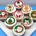 Christmas Edible Icing Cupcake Toppers - PRE-CUT Sheet of 15 - FREE EXPRESS SHIP