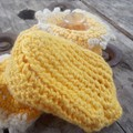 """crochet baby boots """"giggle feet"""" style. 100% cotton in yellows"""