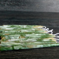 Green and white candles, marbled art beeswax candle. Magical OOAK one of a kind.