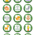 Jungle Animal Edible Cupcake Toppers - PRE-CUT Sheet of 15 - FREE EXPRESS SHIP