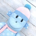 'Bo' the Sock Monkey - blue with white spots and peach - *READY TO POST*