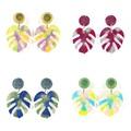 Medium monstera leaf earrings