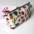 Flamingos pineapple tween teen girl make up bag