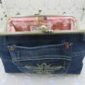 Women's clutch - Recycled Repurposed Denim Jean Clutch- Boho Bronze Motif Pocket