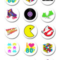Eighties  Edible Icing Cupcake Toppers - PRE-CUT Sheet of 15 - FREE EXPRESS SHIP
