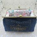 Women's clutch - Recycled Repurposed Denim Jean Clutch-  Bronze Motif Pocket