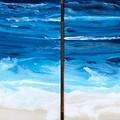 Modern Original Contemporary Art Painting, Set of 2 ocean beach Free Shipping