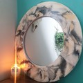 Black, White & Gold Wall Mirror - Resin