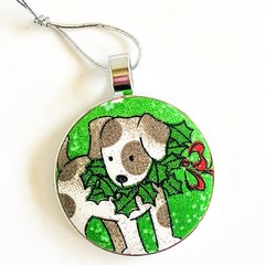 Dog Christmas Ornament - Holly