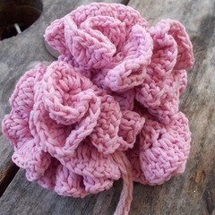 crocheted bath scrubbie made from cornsilk fibre - natural and handmade