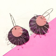 Purple freaky flower hoop dangles