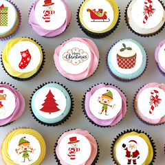 Christmas Mini Edible Cupcake Toppers - PRE-CUT Sheet of 30 - FREE EXPRESS SHIP