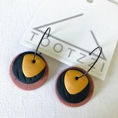 TEXTURE Hoops (Terracotta + Black + Mustard) Interchangable Statement Dangles