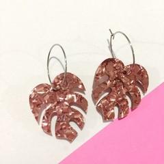 Rose gold chunky glitter monstera hoop dangles