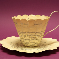 Jane Austen teacup - Emma - paper teacup made from book pages - literary curio
