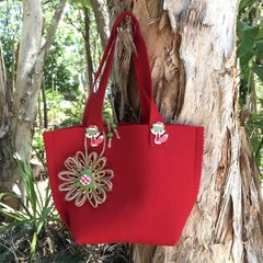Christmas Felt Gift Bag Red Woodland Handbag Button Jute Flower Candy Bag