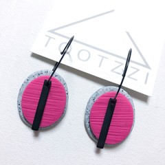 TEXTURE Hoops (Pumice + Lolly Pink) Interchangable Statement Dangles