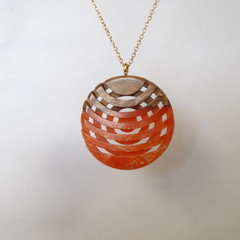 Mallee Burl with Orange Resin Double Sided  Lattice Style See Through  Pendant