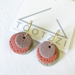 TEXTURE Hoops (Taupe + Terracotta + Mauve) Interchangable Statement Dangles