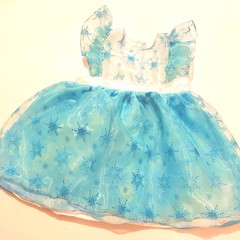 Christmas snow flake sparkle glitter blue dress - size 2