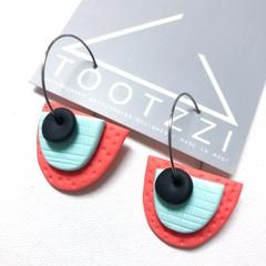 TEXTURE Hoops (Coral + Mint + Black) Interchangable Statement Dangles