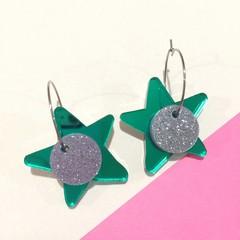 Green mirror star hoop dangles