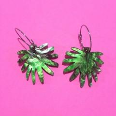 Green leaf hoop dangles
