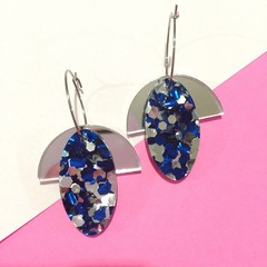 Silver and blue glitter hoop dangles