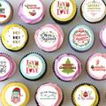 Christmas Mini Edible Cupcake Toppers - PRE-CUT Sheet of 30 - FREE EXPRESS SHIP
