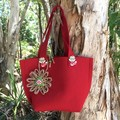 Felt Gift Bag Red Woodland Button Jute Paper Flower Handbag Candy Bag
