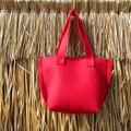 Felt Christmas Gift Bag Red Woodland Button Jute Paper Flower Handbag Candy Bag