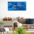 Original Painting on Canvas, Wall Art, Jellyfish, Free Shipping