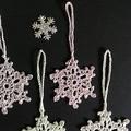 Five Coloured Snowflakes  Xmas Decorations