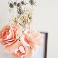 Giant pink rose with dried flowers || crepe paper flowers, home accent.