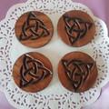 Set  of 4 or 6 coasters with Celtic design decorative  symbol