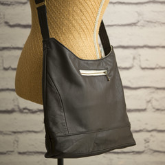 the Hobo Bag - upcycled leather jacket - soft black