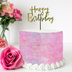 Pink Texture Edible Icing Cake Wrap Topper - FREE EXPRESS SHIPPING