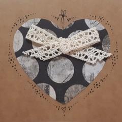 Handmade Vintage Ribbon Heart Card