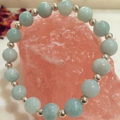 Semi-precious Mint Green Amazonite and Silver Beaded Bracelet