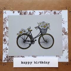 Handmade Metallic Bicycle Card - Happy Birthday