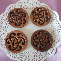Set  of 4 or 6 coasters with Celtic design decorative  symbols