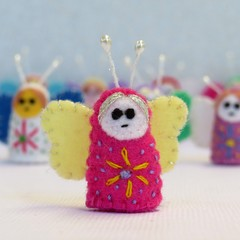 Flutterby Fairy - Miniature felt butterfly fairies - Tiny doll-house toy